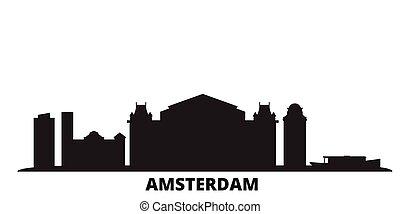 都市, アムステルダム, netherlands, 隔離された, 旅行, 黒, スカイライン, illustration., 都市の景観, ベクトル