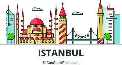 都市, イスタンブール, skyline.