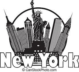 都市, イラスト, スカイライン, 黒, ヨーク, 新しい, 白い円