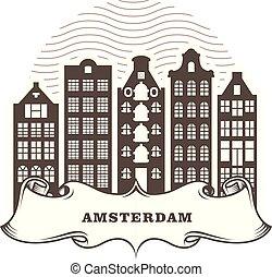 都市, オランダ, 建物, 一般的, -, スカイライン, 都市の景観, アムステルダム