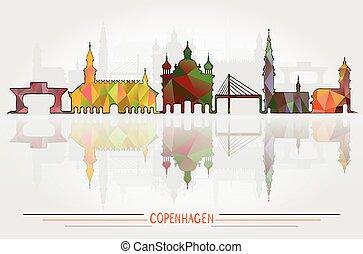 都市, コペンハーゲン, ベクトル, 背景