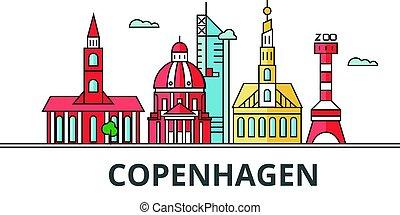 都市, コペンハーゲン, skyline.