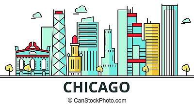 都市, シカゴ, skyline.