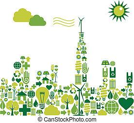 都市, シルエット, 緑, 環境, アイコン