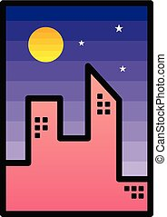 都市, シンボル, 印, 夜, アイコン, 光景