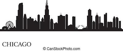 都市 スカイライン, シルエット, 背景, シカゴ
