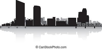 都市 スカイライン, 壮大, シルエット, 急流