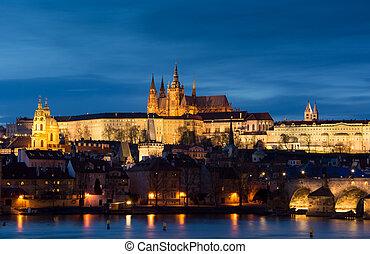 都市, チェコ, イメージ, prague., プラハ, パノラマである, republi, 資本