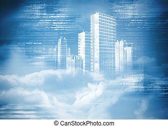 都市, デジタル, 雲, 発生させる, ホログラム