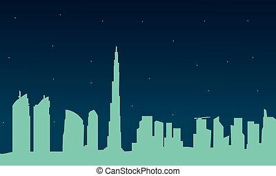 都市, ドバイ, シルエット, 夜