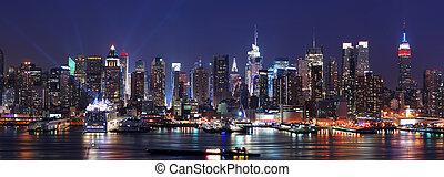 都市, パノラマ, スカイライン, ヨーク, 新しい, マンハッタン