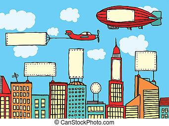 都市, ビジュアル, 広告, /, 汚染
