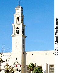 都市, ピーター, 古い, jaffa, st. 。, 教会, 光景
