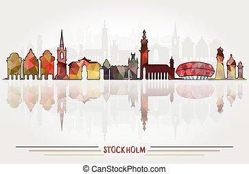 都市, ベクトル, ストックホルム, 背景