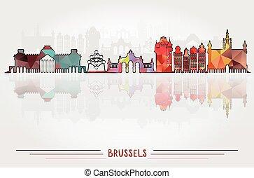 都市, ベクトル, ブリュッセル, 背景