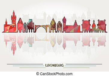 都市, ベクトル, ルクセンブルク, 背景