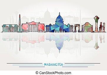 都市, ベクトル, ワシントン, 背景