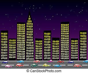 都市, ベクトル, 夜