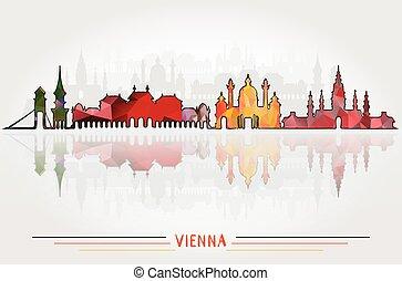 都市, ベクトル, 背景, ウィーン