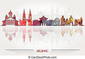 都市, ベクトル, 背景, ヘルシンキ