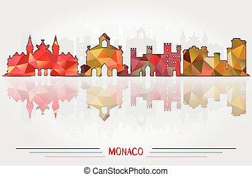 都市, ベクトル, 背景, モナコ