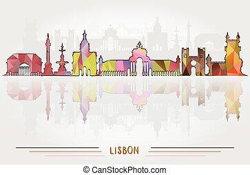 都市, ベクトル, 背景, リスボン