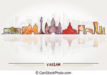 都市, ベクトル, 背景, ワルシャワ