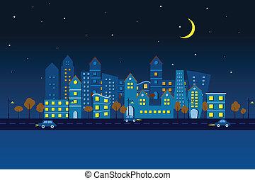 都市, ペーパー, 夜, 光景