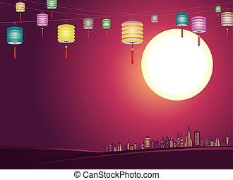 都市, ランタン, 中国語, mid-autumn