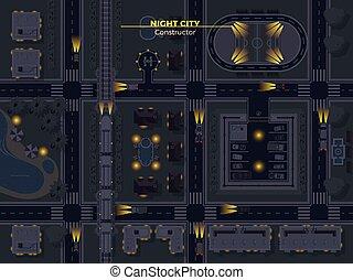 都市, 上, 夜, 光景