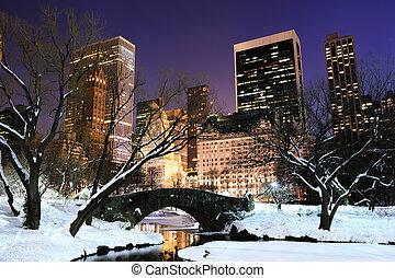 都市, 中央である, 夕闇, パノラマ, 公園, ヨーク, 新しい, マンハッタン