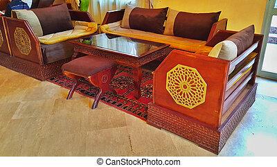 都市, 作られた, 家具, ホテル, ホール, 伝統的である, モロッコ, 東洋人, 刻まれた, marrakesh, style., カーペット