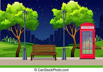 都市, 公園, 夜