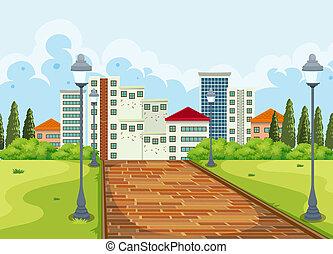 都市 公園, 背景, 光景