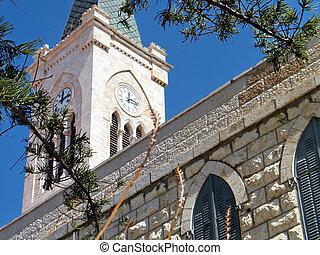 都市, 古い, 時計, st. 。, 教会, タワー, anthony's, jaffa