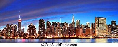 都市, 夕闇, midtown, ヨーク, 新しい, マンハッタン