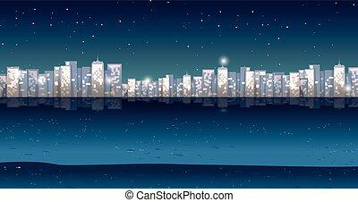 都市, 夜, 光景, 時間