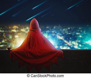 都市, 女の子, 夕方, 英雄, 極度