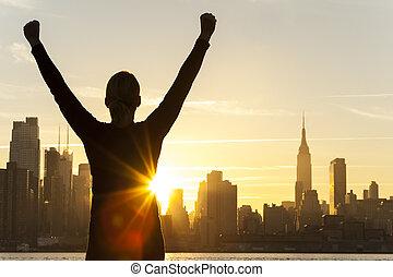 都市, 女, 成功した, スカイライン, ヨーク, 新しい, 日の出