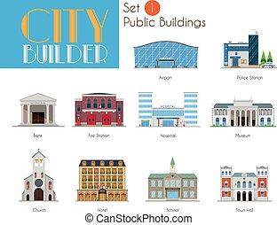 都市, 建物, セット, 市の, 建築者, 1:, 公衆