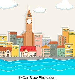 都市, 建物, 光景, タワー, 時計