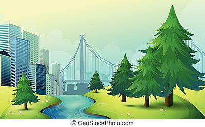 都市, 建物, 光景, 自然