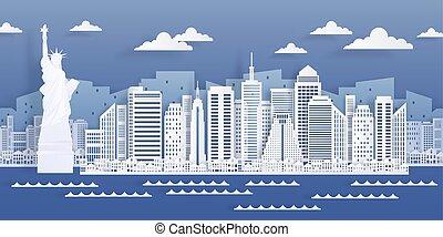 都市, 建物, 切口, アメリカ, 現代, ペーパー, 光景, スカイライン, ベクトル, ヨーク, landmark., 都市の景観, 新しい, 白, style., origami, 超高層ビル