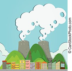 都市, 建物, 工場, 光景
