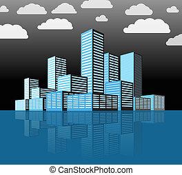 都市, 建物, 現代, district., 見通し