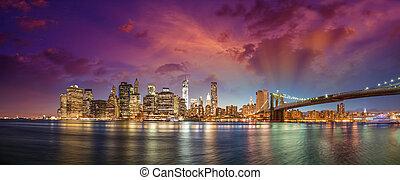 都市, 建物, 超高層ビル, オフィス, 橋, パノラマ, 夕闇, スカイライン, ライト, brooklyn, ヨーク, 新しい, マンハッタン, night., 照らされた