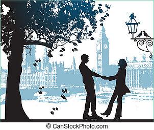 都市, 恋人, 公園, 木, 下に