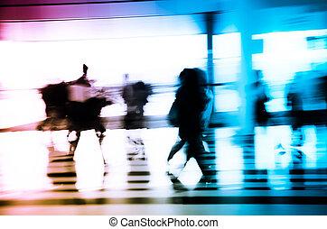 都市, 抽象的, ビジネス, 背景の 人々