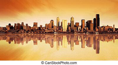 都市, 日の出, 光景