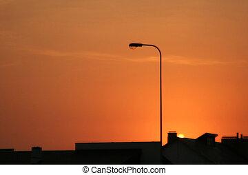 都市, 日没, 光景